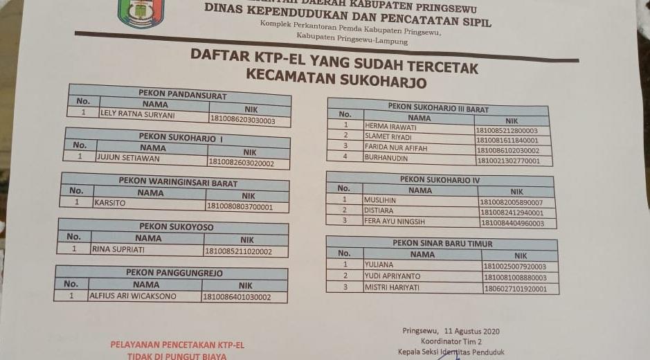 Daftar KTP-el yang sudah cetak Kecamatan Sukoharjo 11 Agustus 2020
