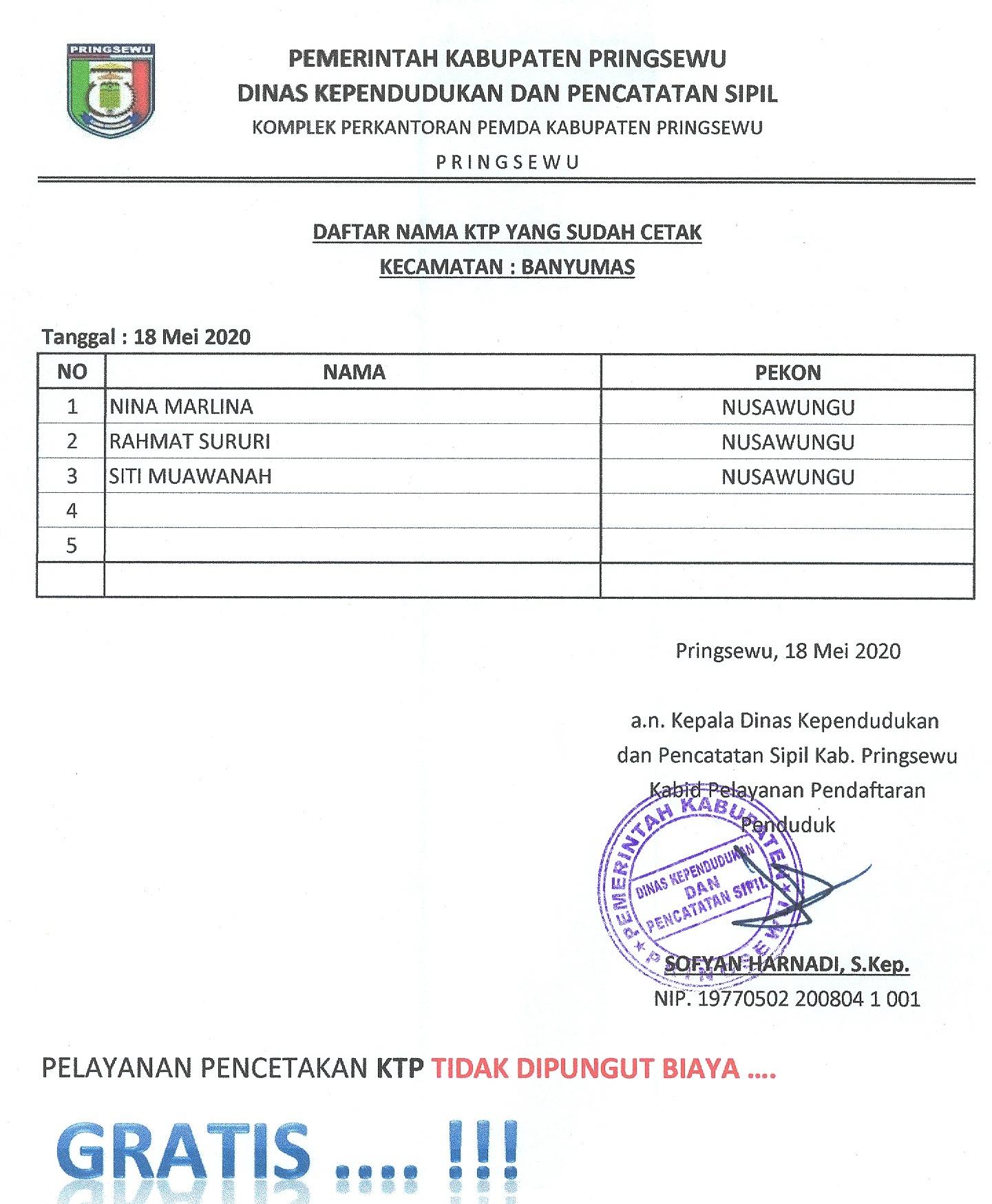 Disdukcapil- Daftar KTP-el yang sudah cetak Kecamatan Banyumas