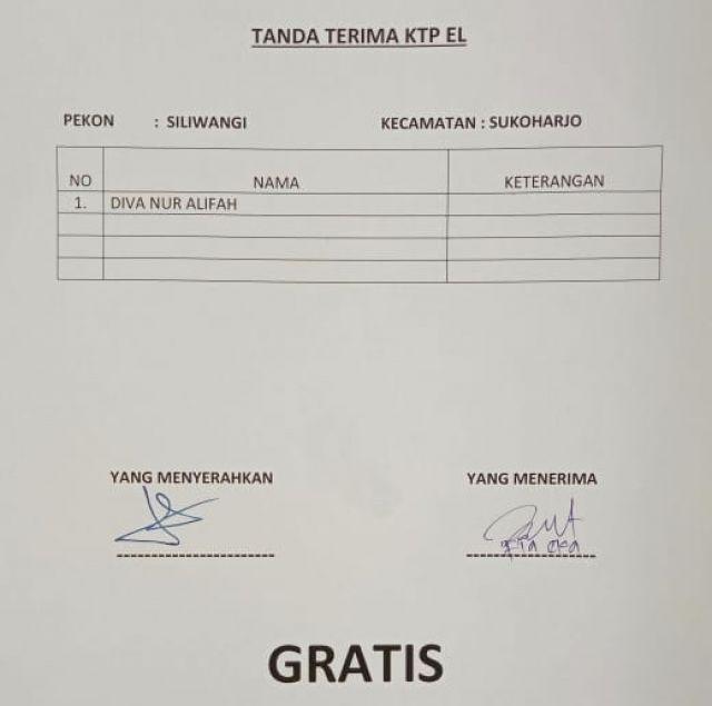 Daftar KTP-el yang sudah cetak Kecamatan Sukoharjo