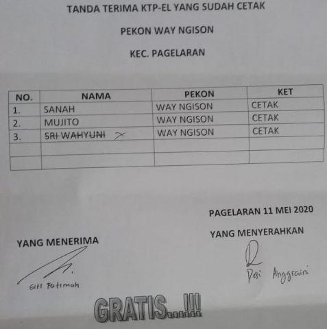 Daftar KTP-el yang sudah cetak Kecamatan Pagelaran